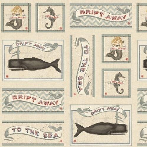 Drift Away Mermaids Seahorses Fabric Panel