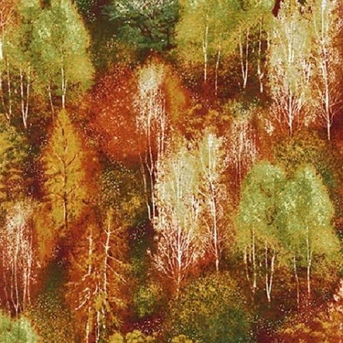 Shades of the Season Autumn Trees Fall Landscape Quilt Fabric