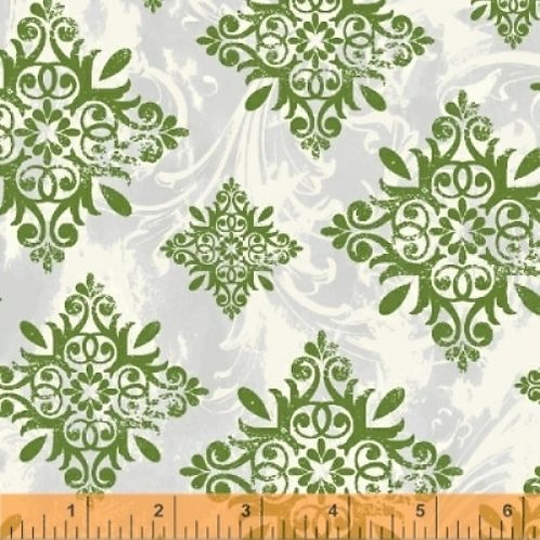 Season's Greetings Green Snowflakes Quilt Fabric