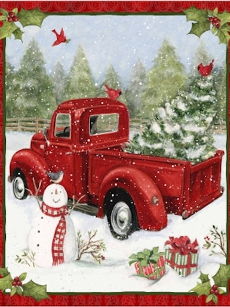 Snow Day Red Wagon Christmas Quilt Fabric Panel