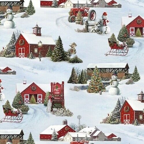 Tis The Season Snow Scenic Barns Country Christmas Quilt Fabric