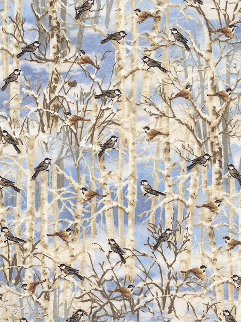 Snow Birds Forest Landscape Quilt Fabric