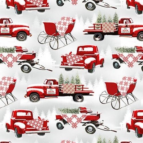 Holiday Heartland Red Wagons Sleighs Quilt Fabric