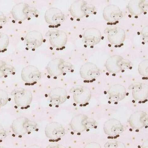 Sleepy Sheep Pink Flannel Quilt Fabric