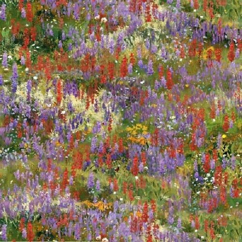 Field Of Wildflowers Landscape Quilt Fabric
