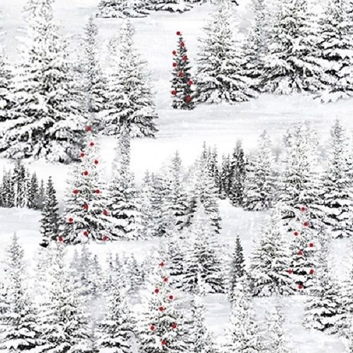 Home For The Holidays Forest Snow Trees Quilt Fabric
