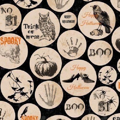 Spooky Ravens Circles Halloween Quilt Fabric
