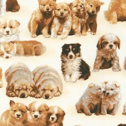 Whiskers & Tails Adorable Puppies Quilt Fabric