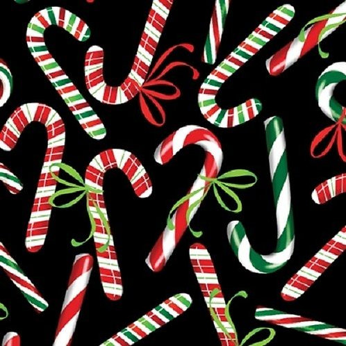 Holiday Cheer Candy Canes Christmas Quilt Fabric