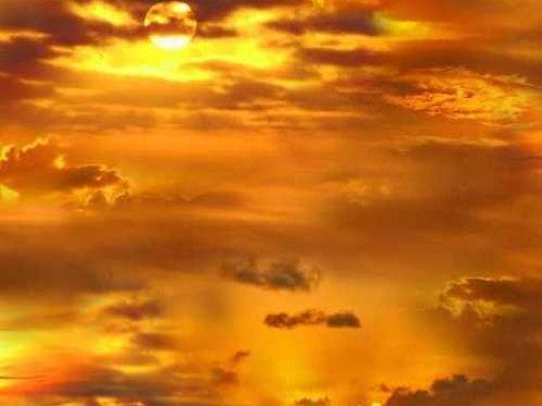Golden Sunset Sky Landscape Quilt Fabric