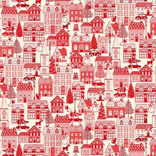 Scandi Christmas Red Houses Town Quilt Fabric