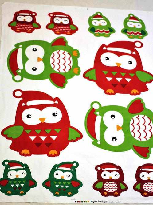 Christmas Owl Softies Quilt Fabric Panel