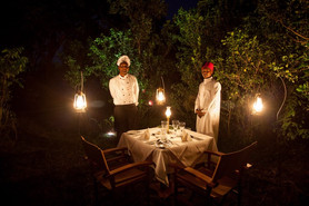 luxurious dining in an authentic African safari setting