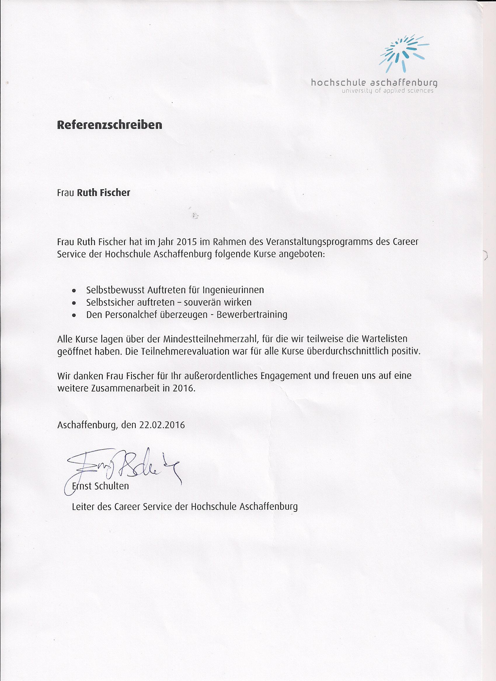 Referenz Hochschule Aschaffenburg -
