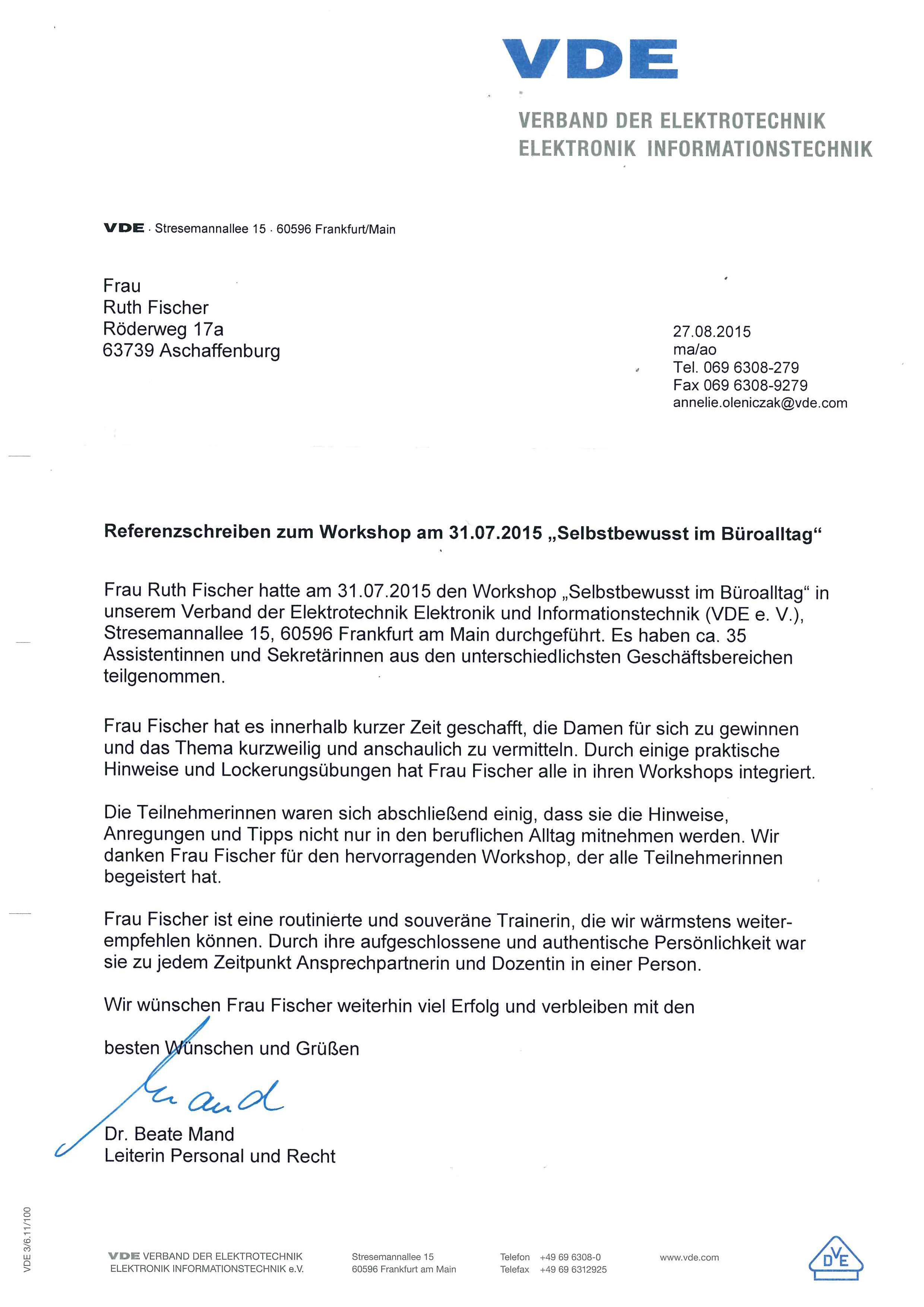 VDE Referenz 2015 Ruth Fischer