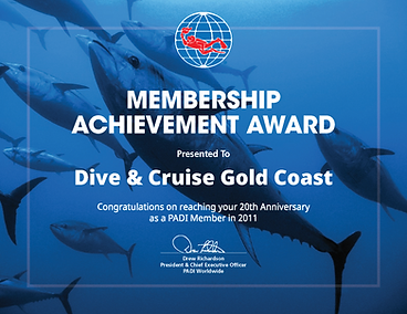 Dive & Cruise Gold Coast - Membership Achievement Award. 20 Years