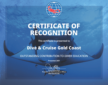 Dive & Cruise Gold Coast - Certificate of Recognition