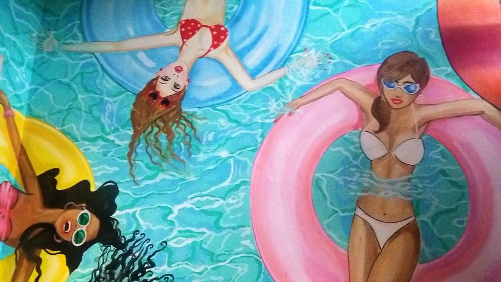 Graffiti, Miami Girls im Pool