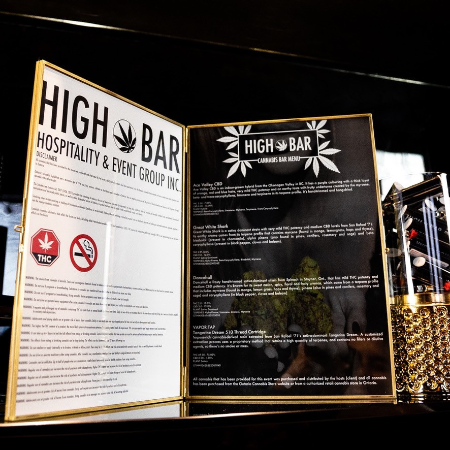 """HIGH BAR Hospitality & Event Group Inc. is Canada's first luxury cannabis event company, creating a premier full-service experience that everyone can enjoy (from someone who's never smoked to your seasoned """"toker""""). With our experience and knowledge immersed in the event industry for over 25 years, the introduction of legal cannabis presented the perfect opportunity to create a high class event company featuring cannabis in its many wonderful forms.  Our mission is simple, provide clients with cannabis experience presented in a classy and high-end fashion. We've partnered with some of the best names in the events and cannabis industries, so that we can provide the highest quality service for any occasion.  We are committed to cannabis education, safety, and providing a responsible experience. www.HighBarToronto.com 19+ info@HighBarToronto.com 🇨🇦   #bartender #budtender   #prerolls & #vaporizer   #mobilecannabisbar   #liverolling   #catering   #cannabiscuisine    #partyfavours & MORE BUDTENDER CANNABIS BARTENDER MOBILE CANNABIS BAR CANNABIS CATERING buddbuffet high class budtending wedding corporate event planner toronto event cannabis sommelier high bar hospitality & event group inc. thc cbd infused food cuisine catering decor cannabis brand activations Vaughan Missisauga Brampton Richmondhill Ontario Markham Scarbarough Muskoka Caledon Whitby North York Foresthill Bridal Path Muskoka Blue Mountain bar bat mitzvah"""
