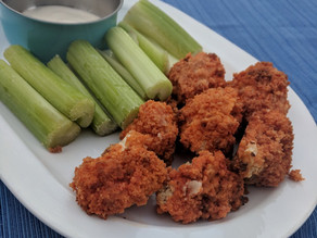 Vegan Cauliflower Buffalo Wings & Blue Cheese Sauce