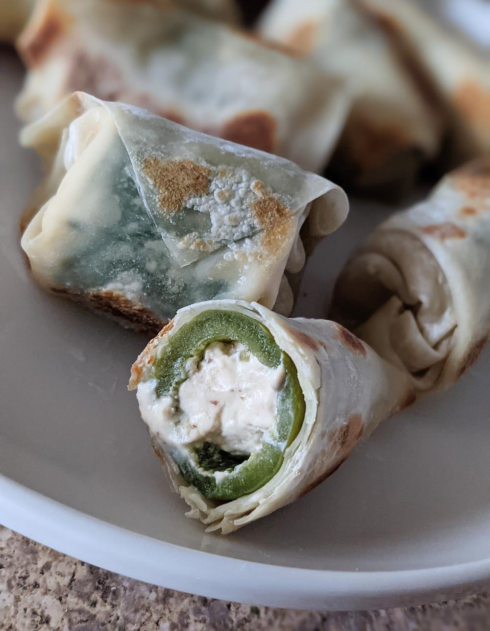 Vegan jalapeno popper egg rolls