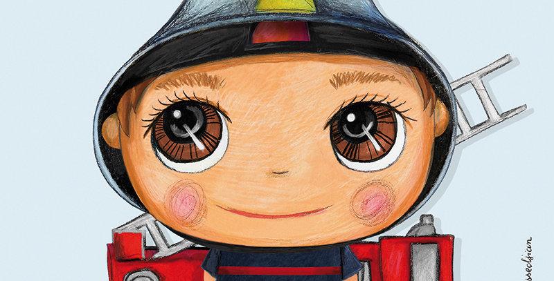 Tableau pompier 15x15cm