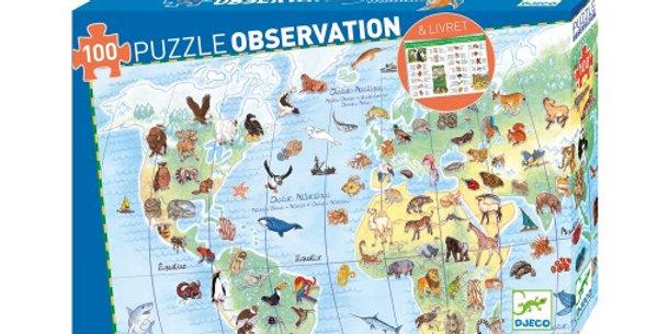 Puzzle observation les animaux du monde