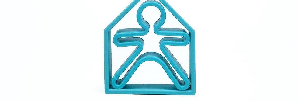 Bonhomme et maison bleu