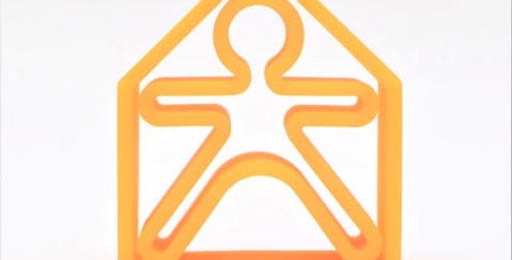Bonhomme et maison orange