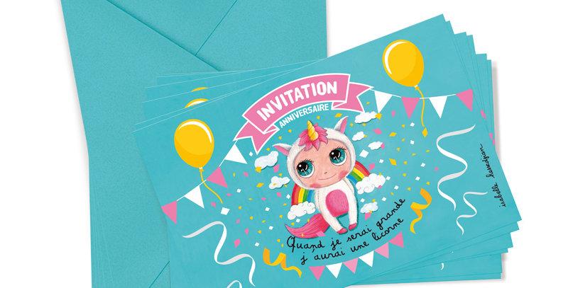 Carton d'invitation licorne