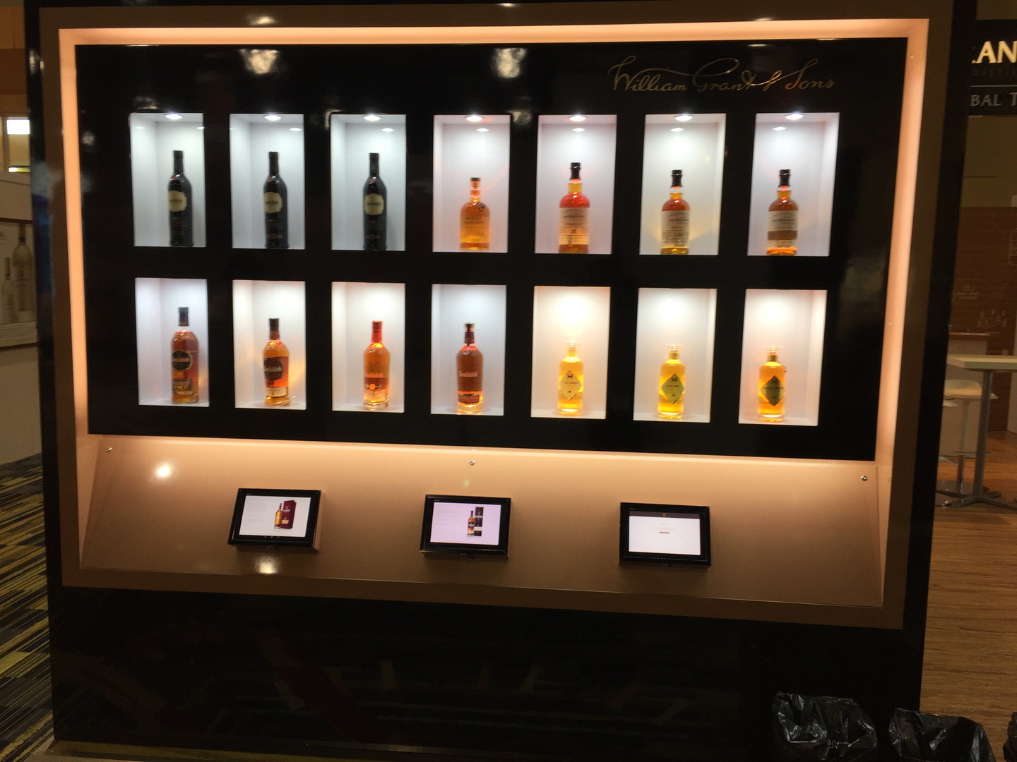 Showcasing William Grant Whiskeys with touch screen technology.