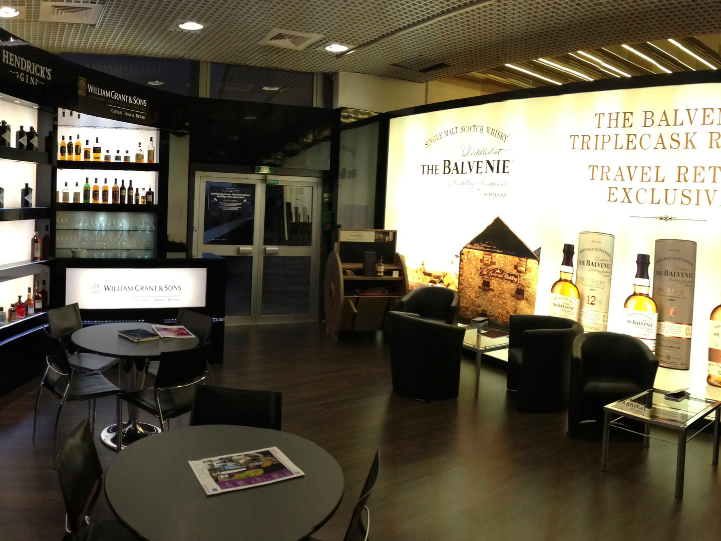 Panoramic view of the interior of William Grant's stand in Cannes