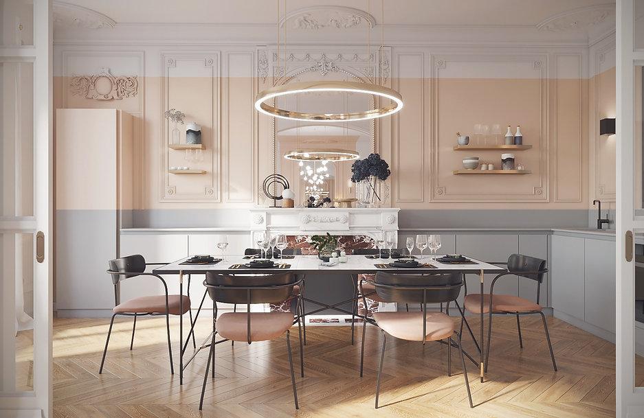 renovation cuisine salle à manger appartement haussmannien haut de gamme luxe paris 16 architecte d'intérieur