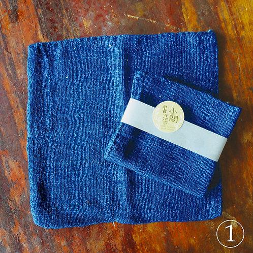 寮國雙面純棉手工厚帕-藍色系