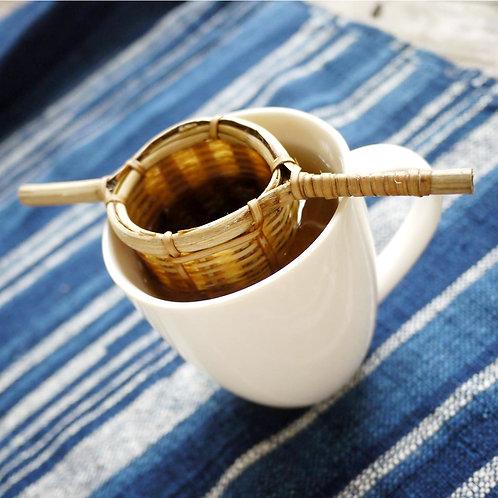 寮國天然雙柄竹製茶漏