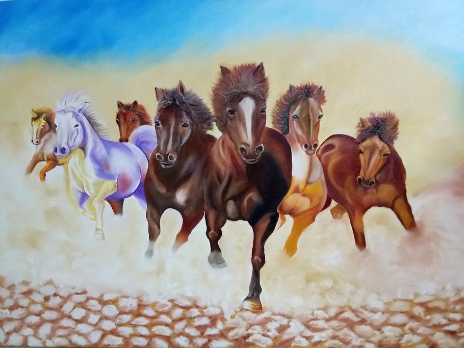 Seven Horses on Canvas