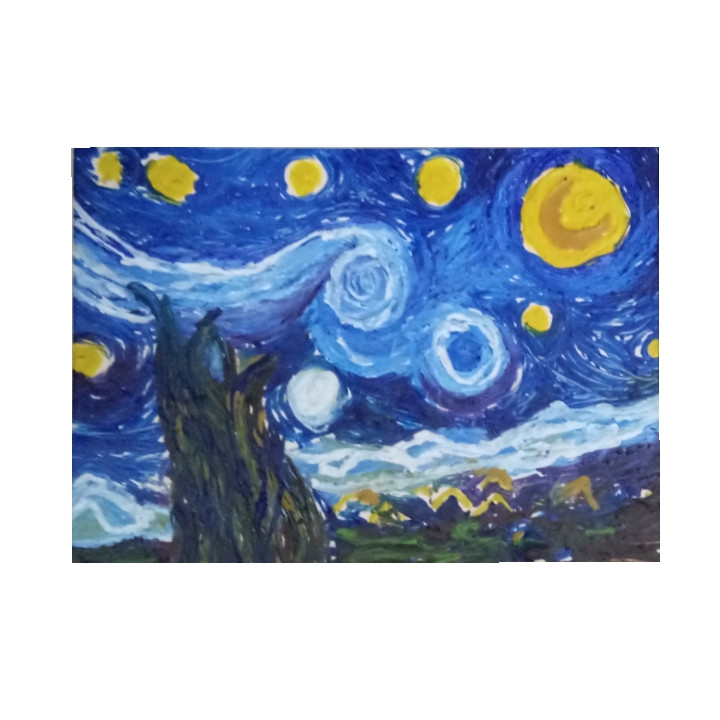 Melted Crayons on Canvas - Van Gogh's Starry Night