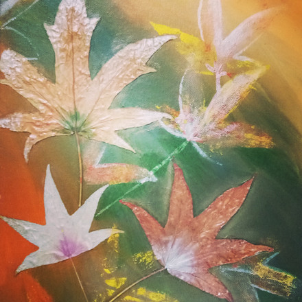 Real Leaves Used on Canvas - Mural Art