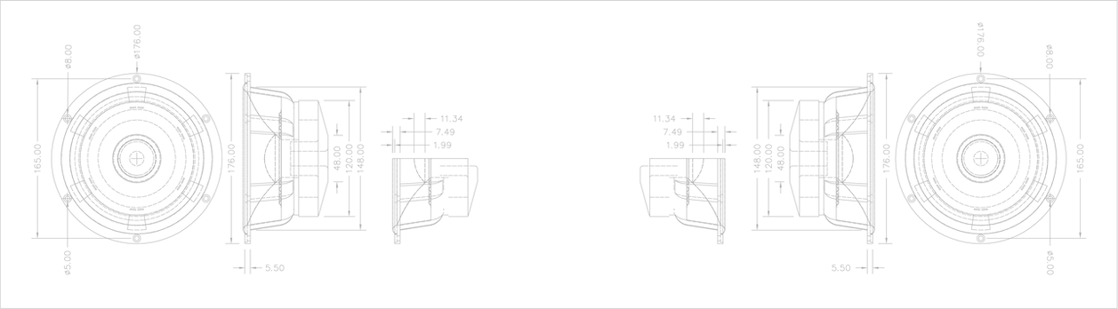 7Inch Woofer - CAD dwg-Model (30 opacity