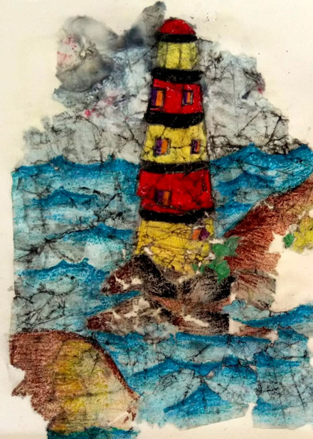 Watercolor & Acrylic on Paper - Lighthouse