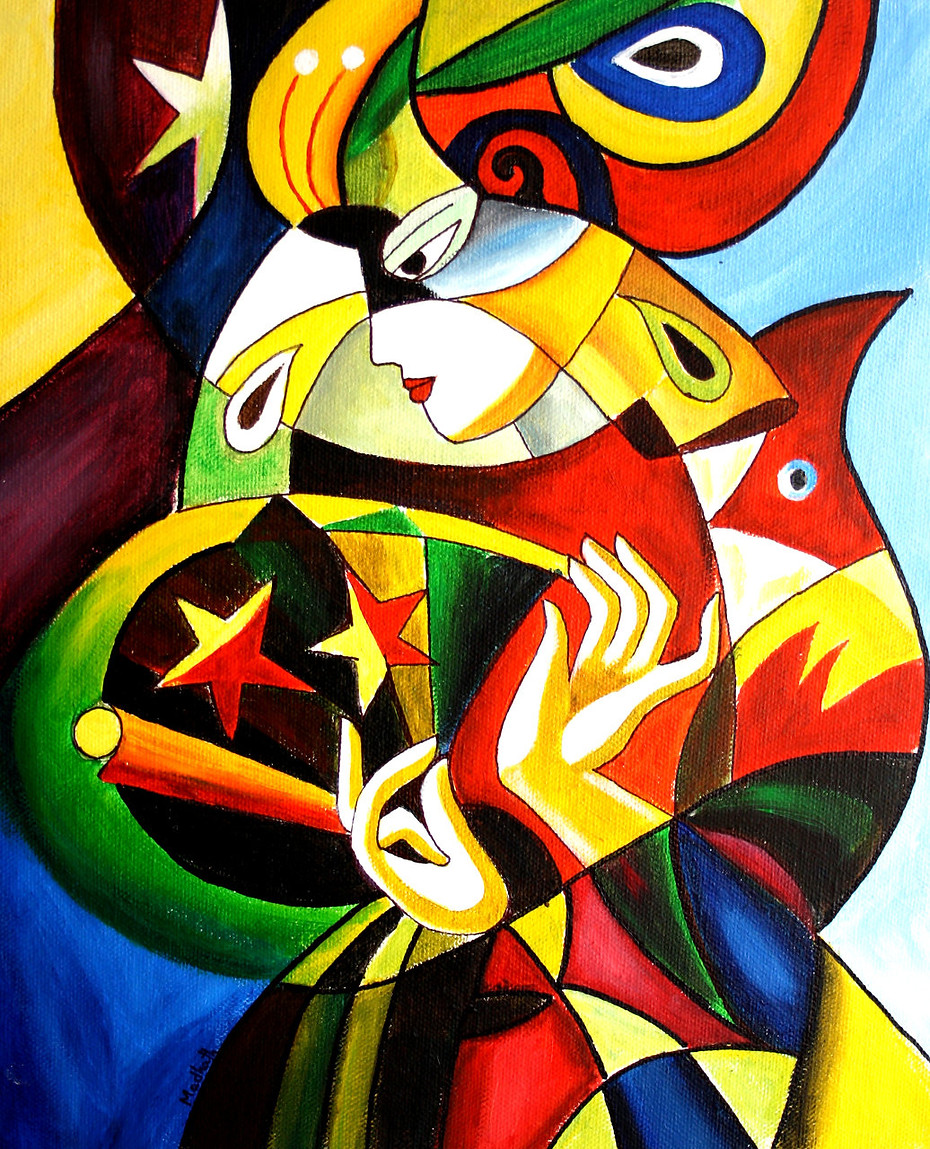 Acrylic Abstract on Canvas - Cubism