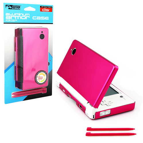DSi Aluminum Armor Case & Dual Stylus Set (Hot Pink)