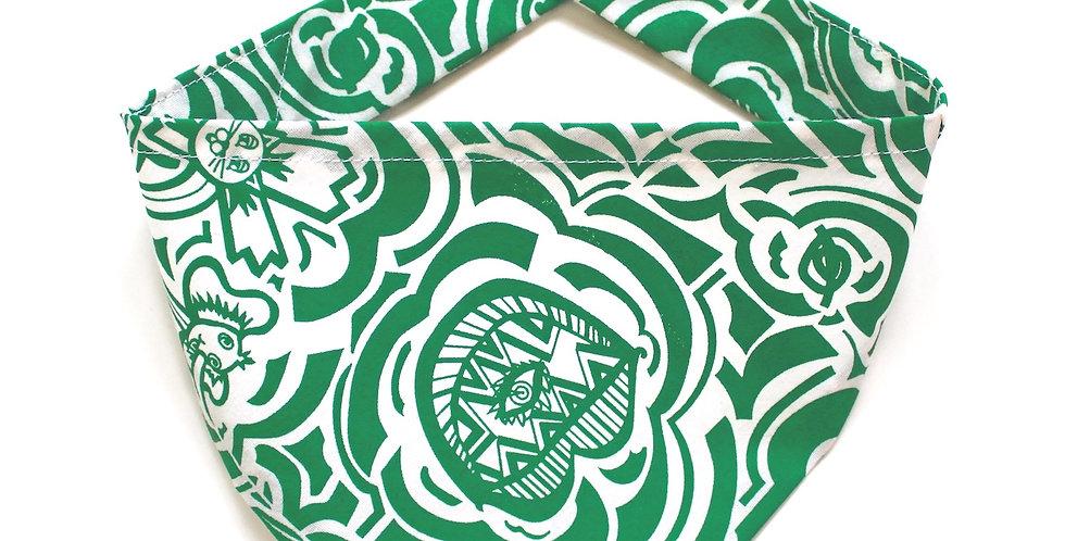 Hand screen printed Dog Bandana - Green & White Print