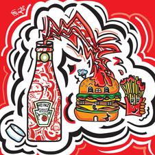 Burger Fries and more Ketchup