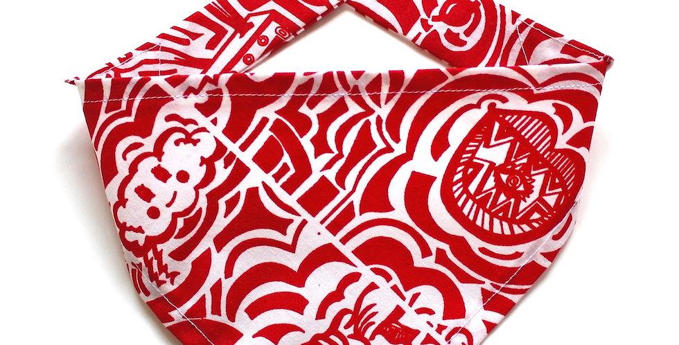Hand screen printed Dog Bandana - Red & White Print