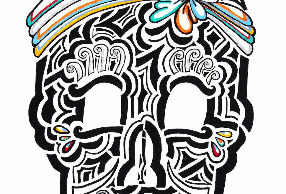 Saloon Girl Skull - Art Print