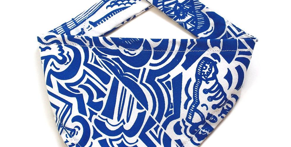 Hand screen printed Dog Bandana - Blue & White Print