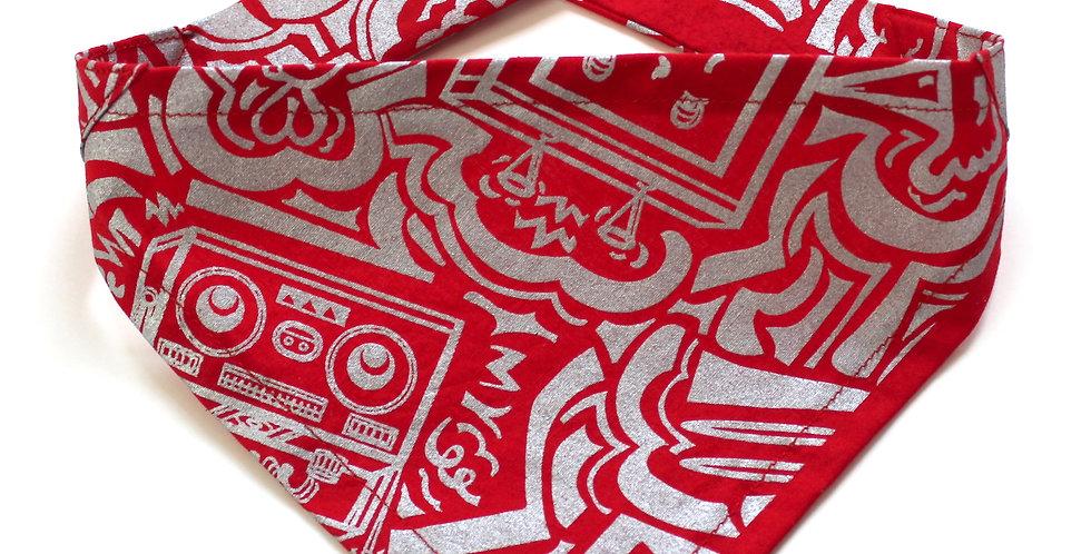 Hand screen printed Dog Bandana - Silver & Red Print