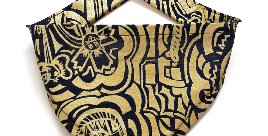 Hand screen printed Dog Bandana - Gold & Navy Print