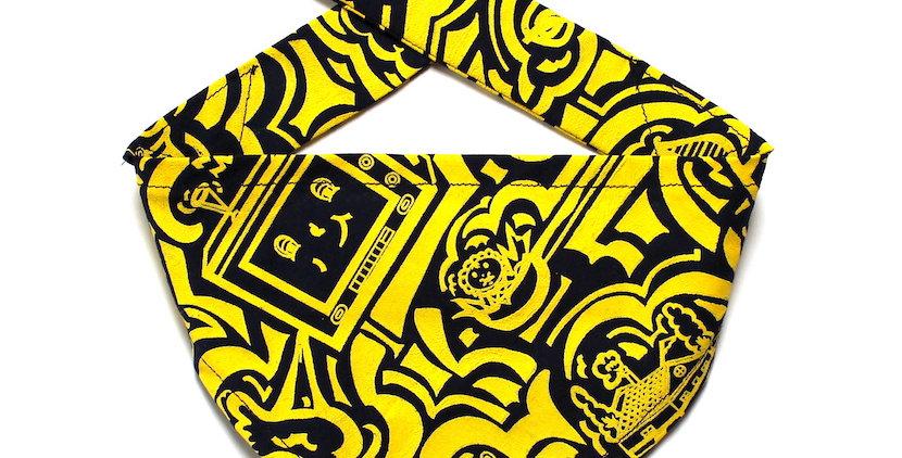 Hand screen printed Dog Bandana - Yellow & Navy Print